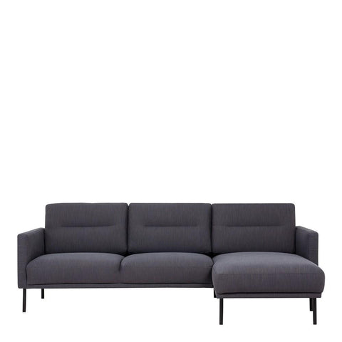 Chaiselongue Sofa (RH) In Antracit With Black Legs - Home Affections