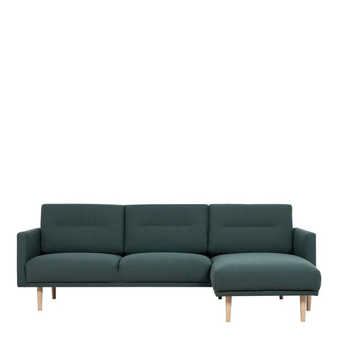 Chaiselongue Sofa (RH) In Dark Green With Oak Legs - Home Affections