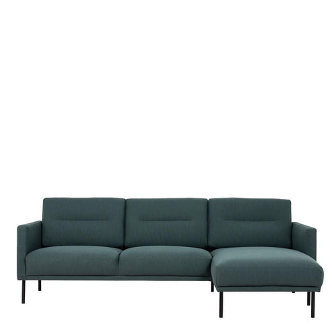 Chaiselongue Sofa (RH) In Dark Green With Black Legs - Home Affections