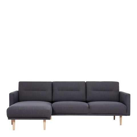 Chaiselongue Sofa (LH) In Antracit With Oak Legs - Home Affections