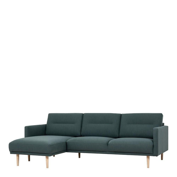 Chaiselongue Sofa (LH) In Dark Green With Oak Legs - Home Affections