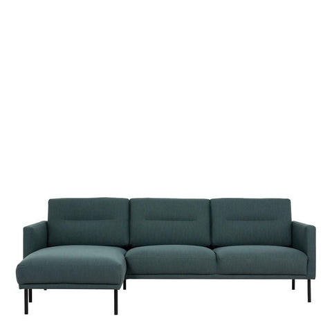Chaiselongue Sofa (LH) In Dark Green With Black Legs - Home Affections