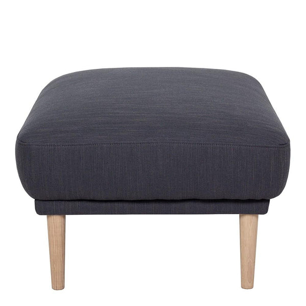 Footstool In Antracit With Oak Legs - Home Affections