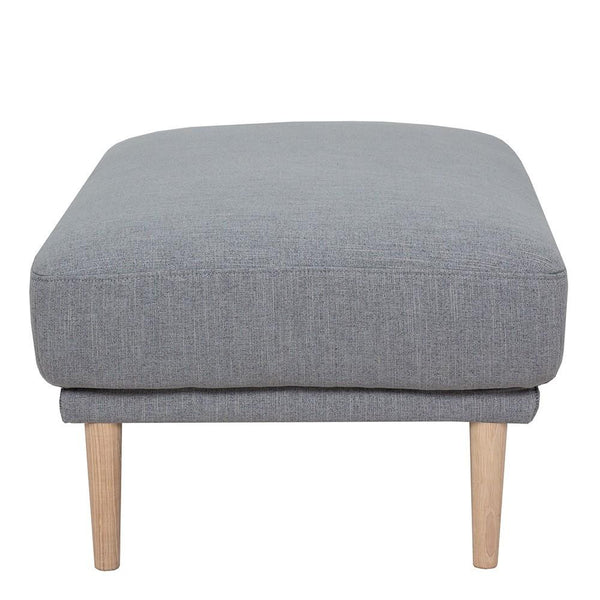 Footstool In Grey With Oak Legs - Home Affections