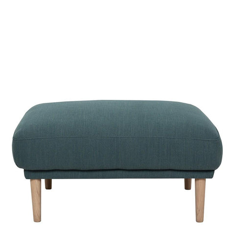 Footstool In Dark Green With Oak Legs - Home Affections