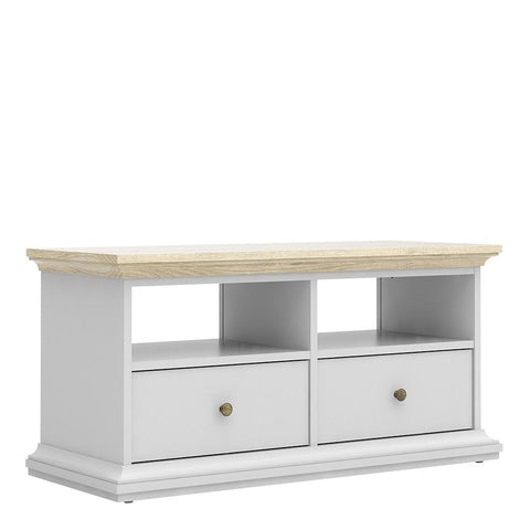 TV Unit In White & Oak - Home Affections