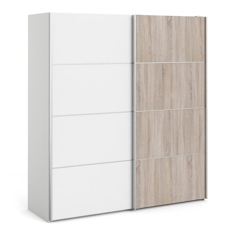 Sliding Wardrobe In White & Truffle - Home Affections