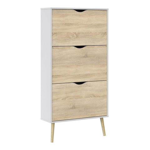 Shoe Cabinet In White & Oak - Home Affections