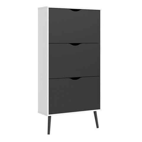 Shoe Cabinet In White & Matt Black - Home Affections