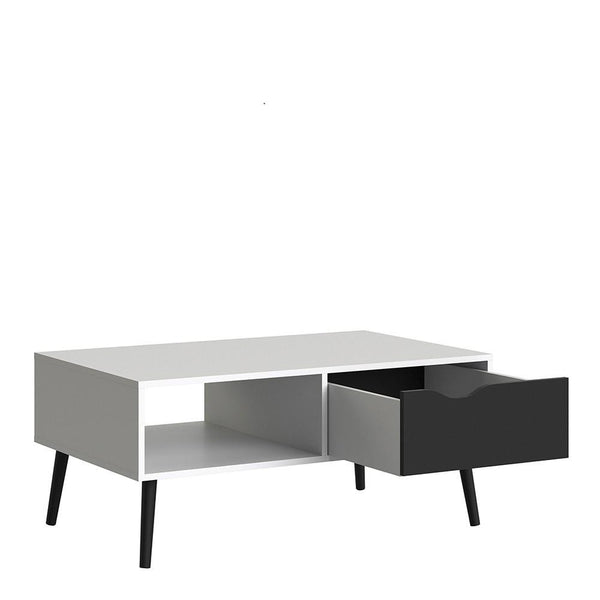Coffee Table In White & Matt Black - Home Affections