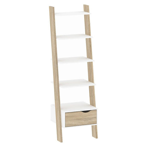 Leaning Bookcase In White & Oak - Home Affections