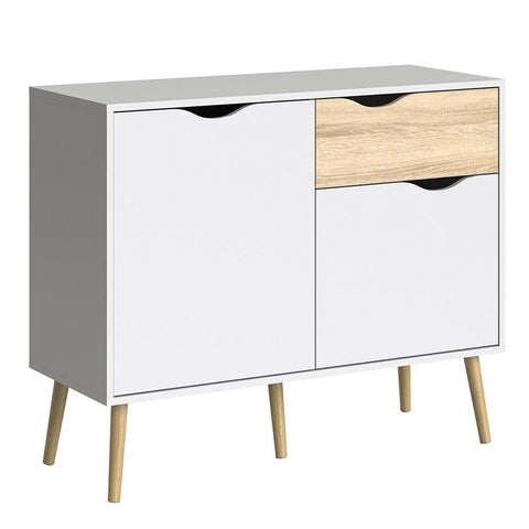 Small Sideboard In White & Oak - Home Affections