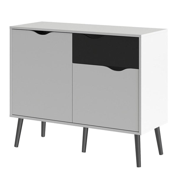 Small Sideboard In White & Black Matt - Home Affections
