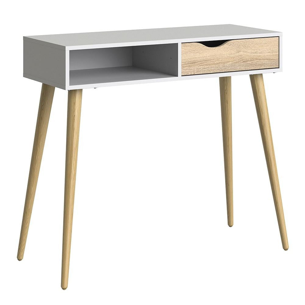 Console Table In White & Oak - Home Affections
