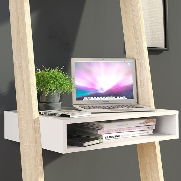 Leaning Desk In White & Oak - Home Affections