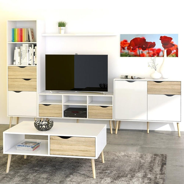 Wide TV Unit In White & Oak - Home Affections