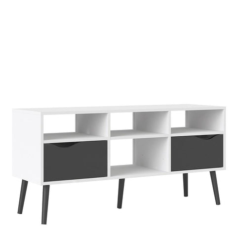 Wide TV Unit In White & Black Matt - Home Affections