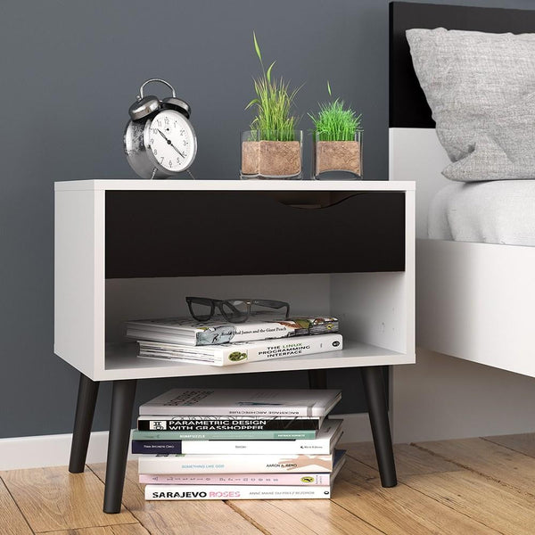 Bedside Table In White & Black Matt - Home Affections