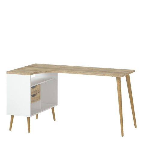 Desk In White & Oak - Home Affections