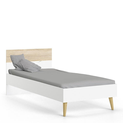 Single Bed In White and Oak - Home Affections