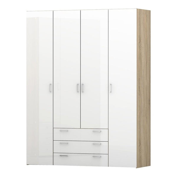 Wide Wardrobe In Oak & White High Gloss - Home Affections