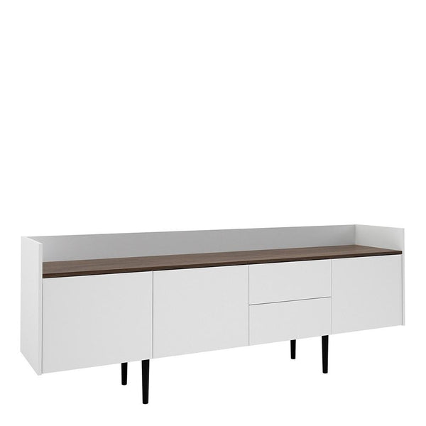 Sideboard In White & Walnut - Home Affections