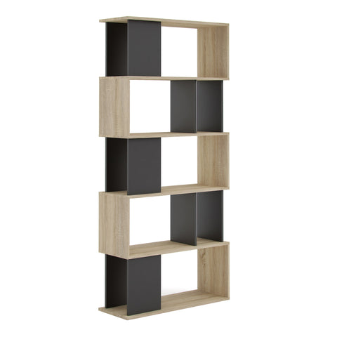 Open Bookcase In Oak & Black - Home Affections