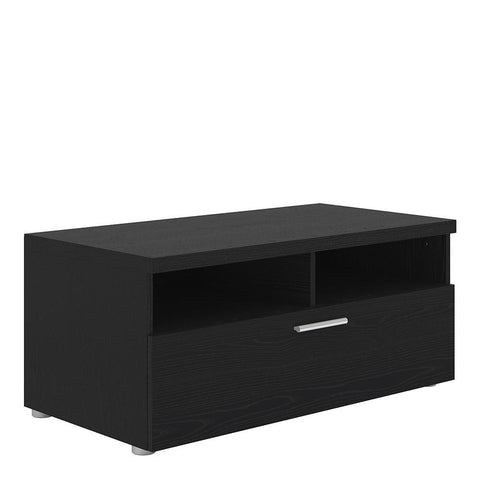 TV Unit In Black Woodgrain - Home Affections