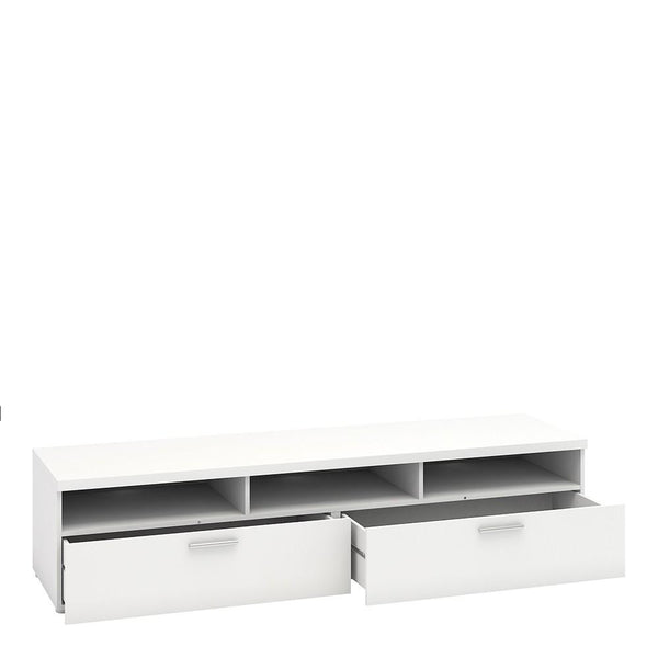 Wide TV Unit In White - Home Affections