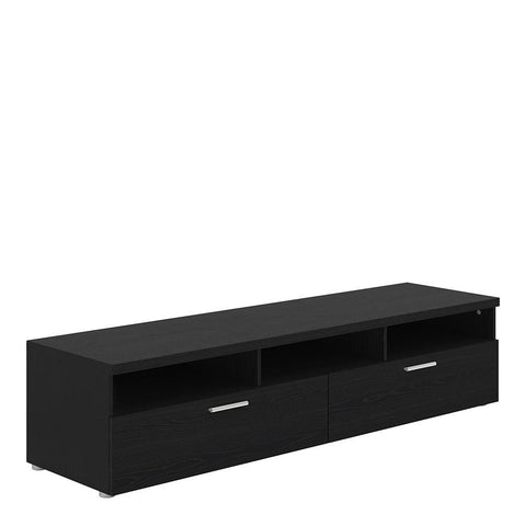 Wide TV Unit In Black Woodgrain - Home Affections