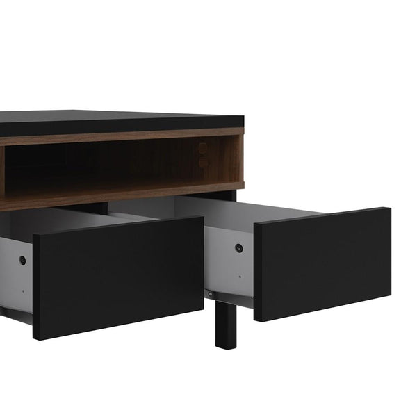 TV Unit In Black & Walnut - Home Affections
