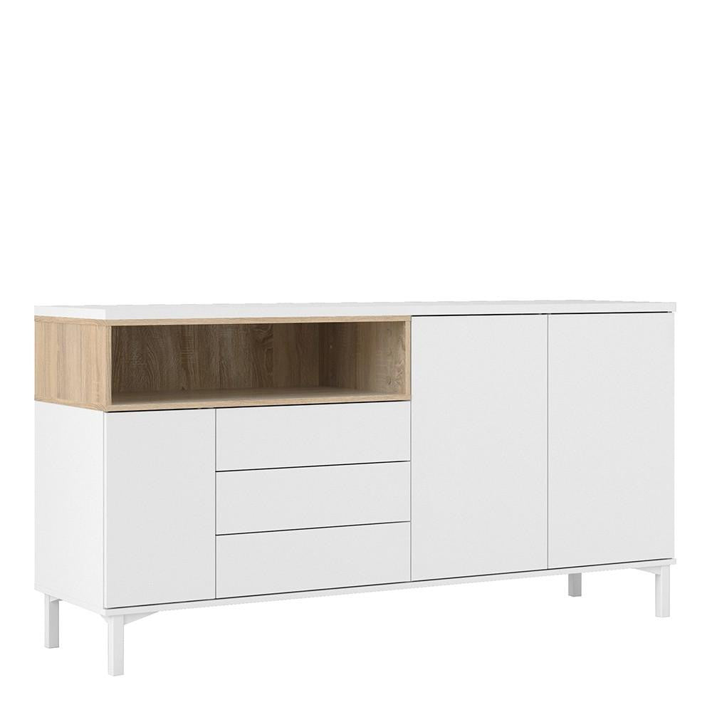 Wide Sideboard In White & Oak - Home Affections