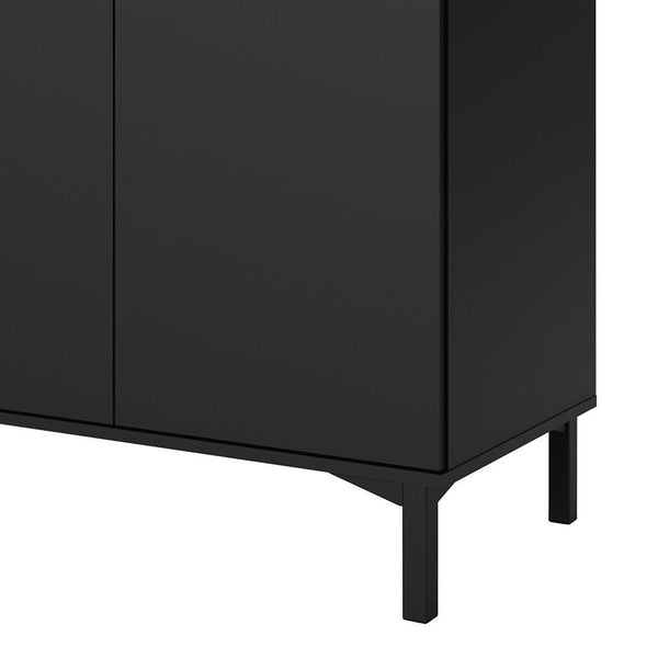 Wide Sideboard In Black & Walnut - Home Affections