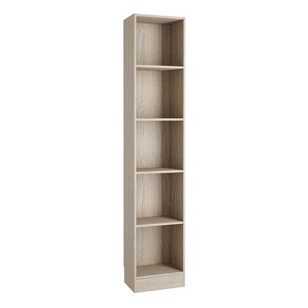 Tall Narrow Bookcase In Oak - Home Affections