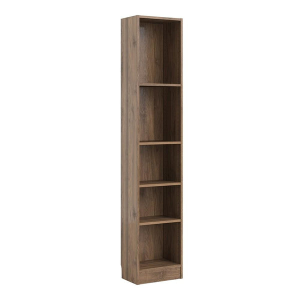 Tall Narrow Bookcase In Walnut - Home Affections