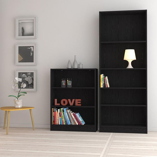 Tall Wide Bookcase In Black - Home Affections