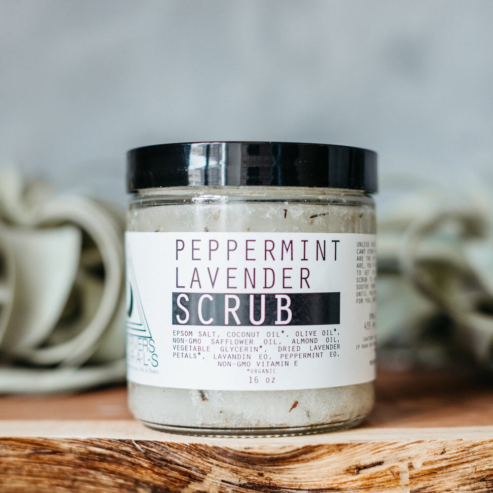 Peppermint, lavender, scrub, Dead Sea salt, epsom salt, essential oils, vegan, cruelty free