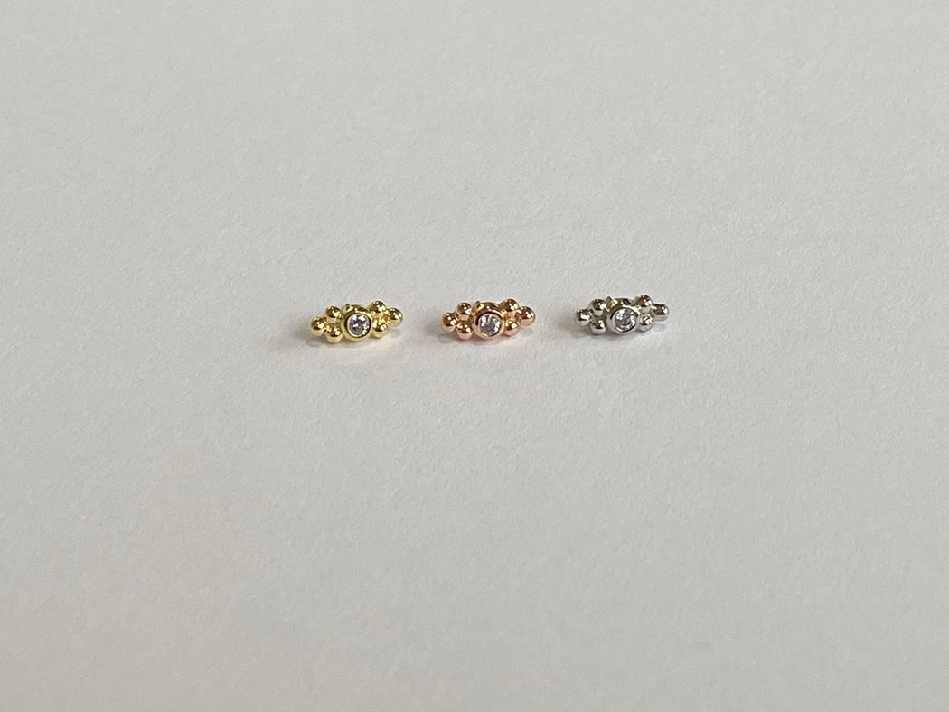 Anatometal 18k Gold Double Sabrina 2mm CZ Threadless Ends