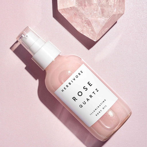 Rose quartz, body oil, shimmer, moisturize, highlight, vegan, cruelty free, all natural, fragrance free, jasmine, essential oils