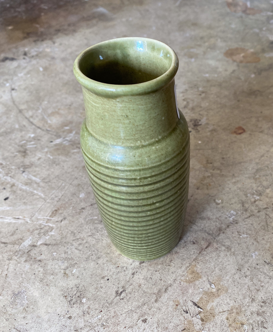 Green Ribbed Ceramic Vase