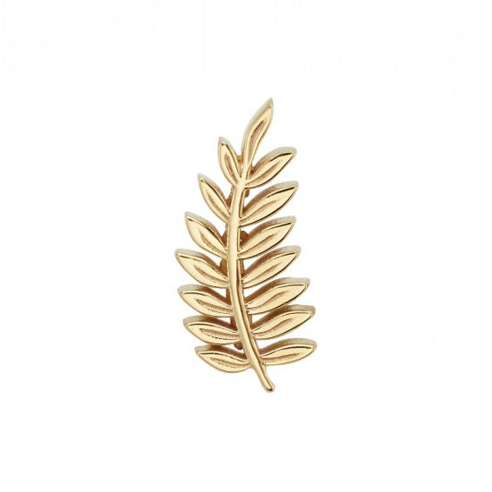 BVLA 14K Yellow Gold Threaded End with Fern (Right Curve)