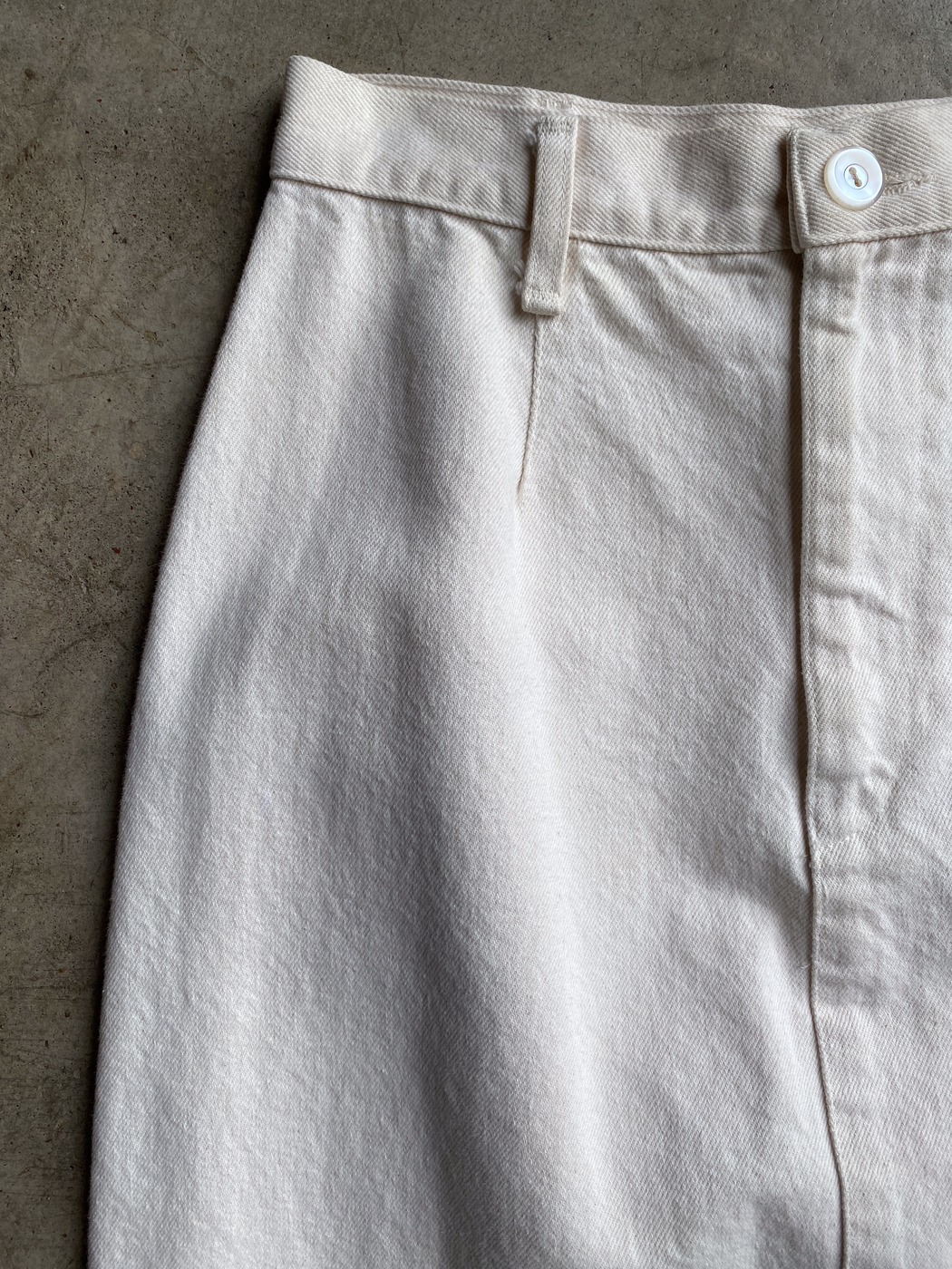 Cream Denim Skirt With Side Buttons