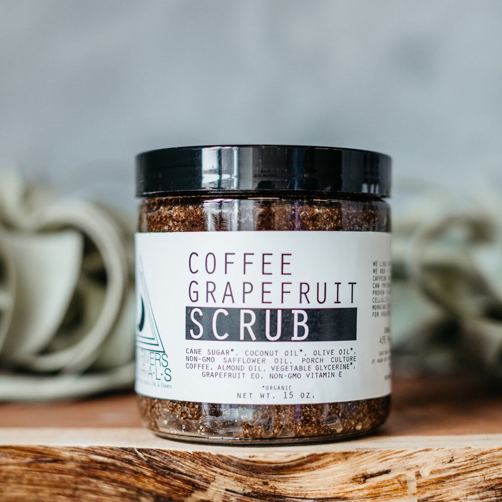 Coffee grapefruit scrub, moon river naturals, body scrub, all natural, essential oils, vegan, cruelty free, sugar scrub, coconut oil