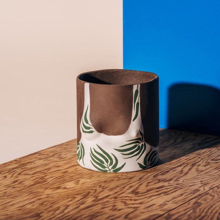 Dark leaves pot, group partner, hand made, clay, hand painted, vegan, cruelty free, planter, terra cotta, white, green