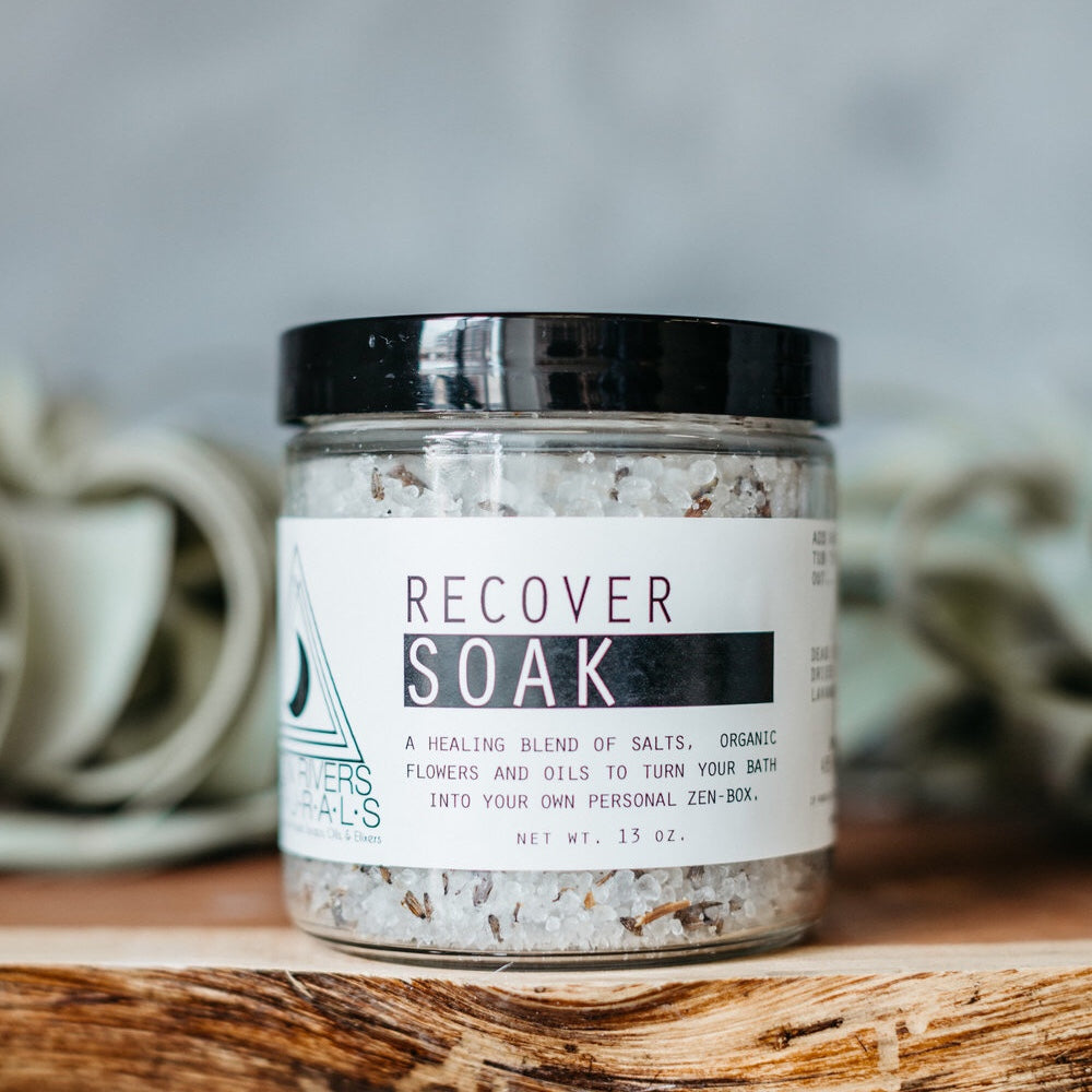 Recover soak, bath soak, moon river naturals, muscle soak, peppermint, lavender, organic lavender petals, Himalayan pink salt, all natural, vegan, cruelty free