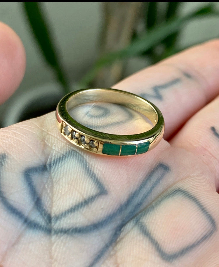 14K Solid Gold Diamond and Jade Band