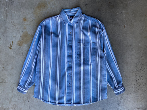 Vintage Blue/White Striped Chambray Button-down