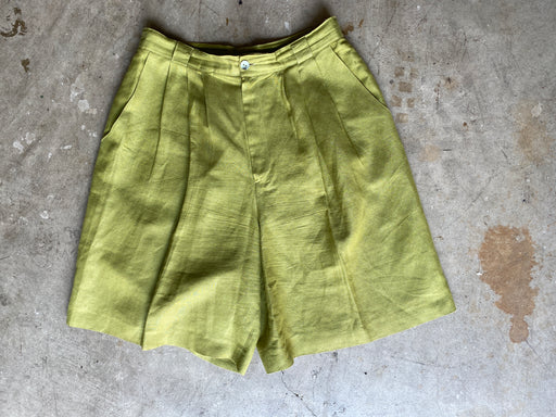 Chartreuse Wide Leg Shorts