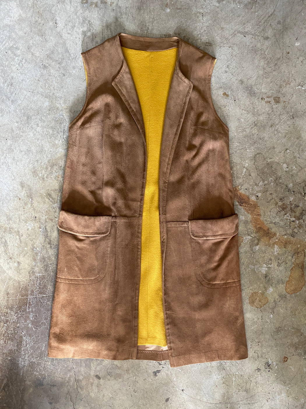 Brown Suede Vest With Yellow Lining