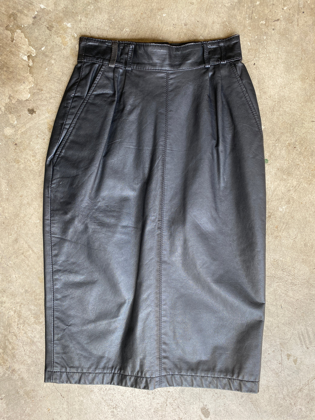 Black Leather Pleated Pencil Skirt